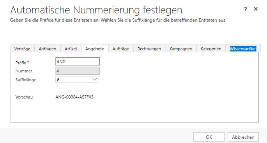 Einstellen der standardmäßigen, automatischen Nummerierung im CRM Microsoft Dynamics 365