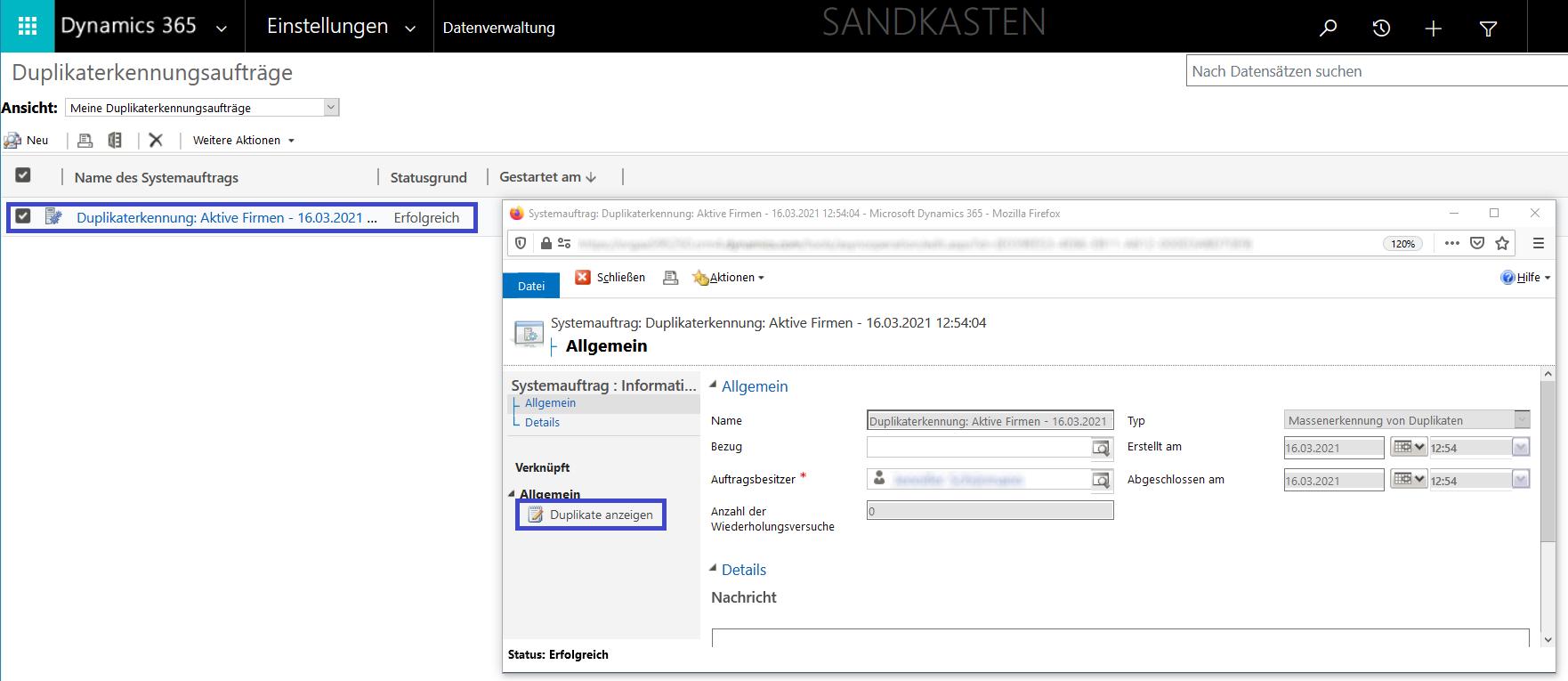 Weitere Optionen für Duplikaterkennungsaufträge: Benennung des Datensatzes, Startzeit und Möglichkeit eine E-Mail zu erhalten