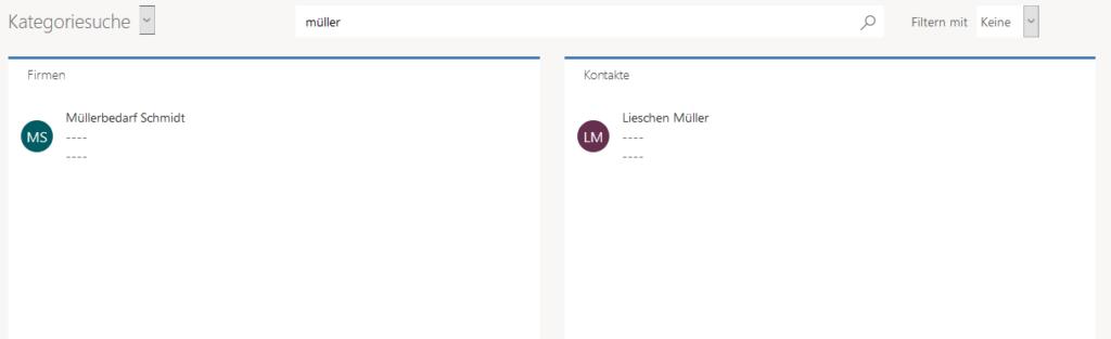 Ergebnisse der Kategoriesuche im Unified Interface