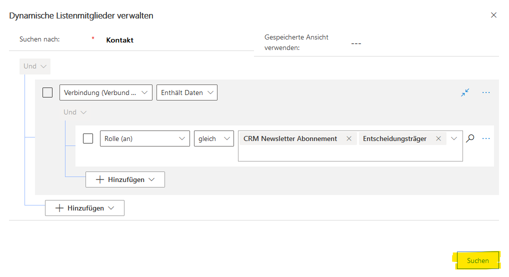 Zeigt Filterkriterien, um entsprechende Datensätze zu einer Marketingliste hinzuzufügen.