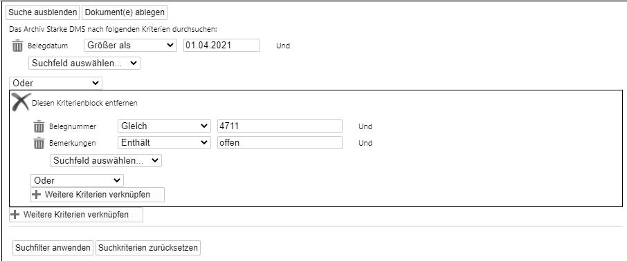 Screenshot zeigt die Suchmaske, um in Dynamics 365 nach Dokumenten aus dem DMS zu suchen