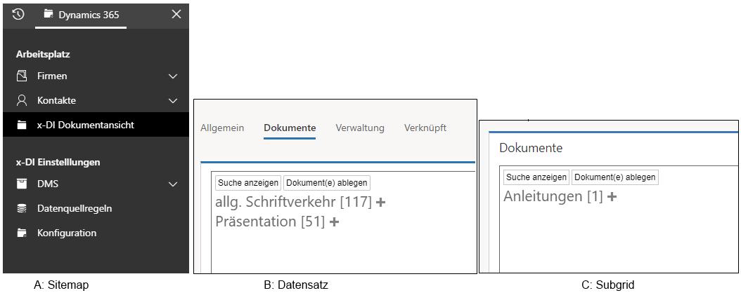 Bild zeigt drei Screenshots in der einheitlichen Oberfläche, die verschiedene Möglichkeiten zeigen die Schnittstelle zum DMS in Dynamics 365 einzubinden und Dokumente anzeigen zu lassen.