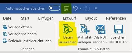 """Zeigt die Menüleiste unter dem Reiter """"www.mscrm-addons.com"""". Der Button """"Daten auswählen"""" ist gelb markiert."""