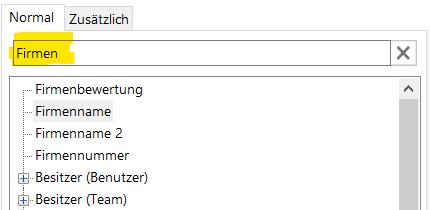 """Der Screenshot zeigt einen Ausschnitt aus dem DCP Template Designer. Zu sehen ist eine Liste mit den Spalten aus der Firmen-Tabelle des CRM, die zur Vorlage hinzugefügt werden können. Außerdem enthält das Suchfeld den Begriff """"Firmen"""", sodass die zur Auswahl stehenden Spalten entsprechend gefiltert sind."""