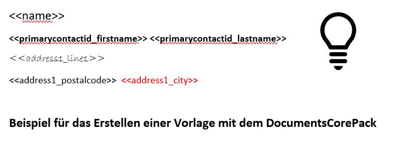 Der Screenshot zeigt eine beispielhafte DCP Vorlage mit eingefügten Seriendruckfeldern aus dem Template Designer. Diese sind verschieden formatiert. Zu sehen sind Beispiele in dicker und roter Schrift, sowie verschiedene Schriftarten und -größen.