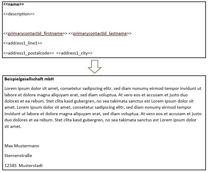 """Der Screenshot zeigt ein Beispiel, bei dem ein längerer Text in die Vorlage eingefügt wird. Oben ist wieder eine Vorlage mit Seriendruckfeldern zu sehen. Zusätzlich gibt es das Feld """"Beschreibung"""". Unten ist die Vorlage mit Daten befüllt. Die Beschreibung ist mehrere Zeilen lang, deshalb rutschen die Serienfelder unterhalb der Beschreibung entsprechend nach unten. Absätze werden beibehalten."""