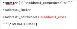 Der Screenshot zeigt ein Beispiel für die Verwendung der IF-Funktion im Zusammenspiel mit den Seriendruckfeldern des DCP.