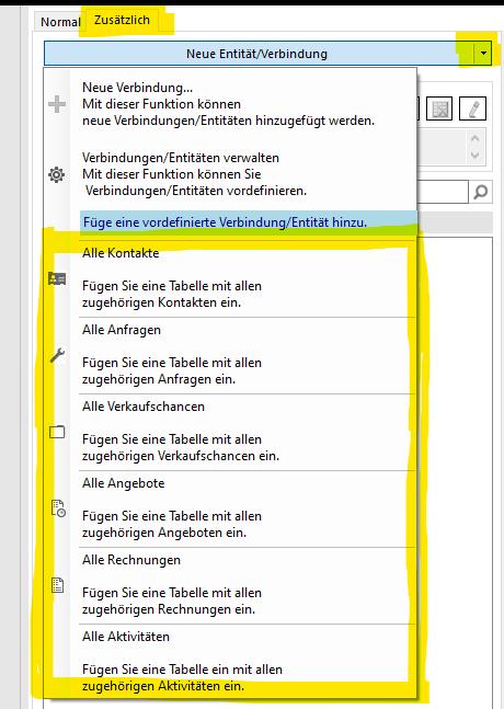 Der Screenshot zeigt den DCP Template Designer mit geöffnetem DropDown Menü, um die vordefinierten Verbindungen hinzuzufügen.